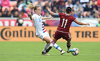 Houston, TX - Sunday April 8, 2018: Emily Sonnett, Mónica Ocampo during an International friendly match versus the women's National teams of the United States (USA) and Mexico (MEX) at BBVA Compass Stadium.