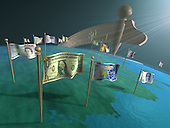 Money flags on globe
