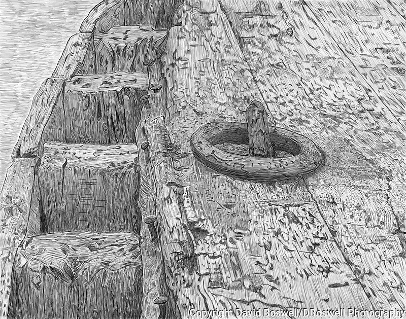 A sketch of  the remains of a water boat on the beach of Whalers Bay, Deception Island near the Antarctic Peninsula.
