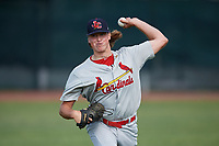 Johnson City Cardinals pitcher Evan Sisk (22) warms up before the first game of a doubleheader against the Princeton Rays on August 17, 2018 at Hunnicutt Field in Princeton, Virginia.  Johnson City defeated Princeton 6-4.  (Mike Janes/Four Seam Images)