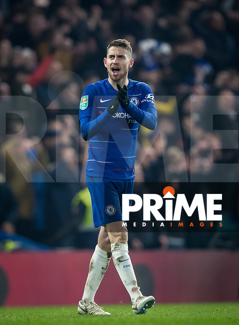 Jorginho of Chelsea at full time during the Carabao Cup Semi-Final 2nd leg match between Chelsea and Tottenham Hotspur at Stamford Bridge, London, England on 24 January 2019. Photo by Andy Rowland.