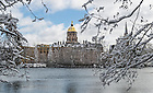 Mar.12, 2014; View of Main Building and Golden Dome from St. Joseph Lake after snow storm. Photo by Barbara Johnston/University of Notre Dame