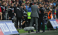 Swansea City manager Paul Clement shakes hands with Huddersfield Town manager David Wagner during the Premier League match between Swansea City and Huddersfield Town at The Liberty Stadium, Swansea, Wales, UK. Saturday 16 October 2017