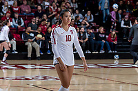 STANFORD, CA -- November 30, 2018. The Stanford Cardinal women's volleyball team defeats the Alabama State Hornets 3-0 at Maples Pavilion in NCAA Round 1.