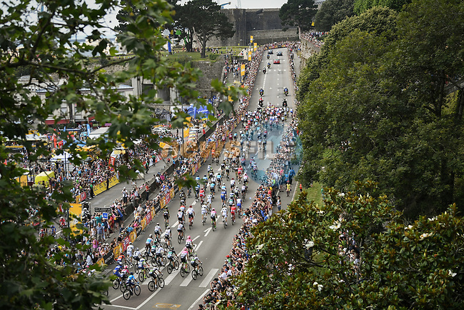 The start of Stage 6 of the 2018 Tour de France running 181km from Brest to Mur-de-Bretagne Guerledan, France. 12th July 2018. <br /> Picture: ASO/Pauline Ballet | Cyclefile<br /> All photos usage must carry mandatory copyright credit (© Cyclefile | ASO/Pauline Ballet)