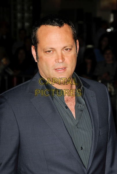 "VINCE VAUGHN.The American premiere of ""Couples Retreat"" at Mann Village Theatre in Westwood, California, USA..October 5th, 2009.headshot portrait grey gray blue green shirt jacket mouth open.CAP/ROT.©Lee Roth/Capital Pictures"