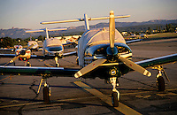 Private airplanes parked at the airport at Les Milles, France.