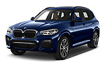 2020 BMW X3 M-Sport 5 Door SUV Angular Front automotive stock photos of front three quarter view