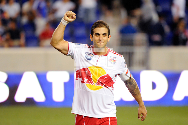 Carlos Mendes (44) of the New York Red Bulls celebrates after the game. The New York Red Bulls defeated the San Jose Earthquakes 2-0 during a Major League Soccer (MLS) match at Red Bull Arena in Harrison, NJ, on August 28, 2010.