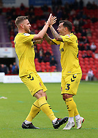 Fleetwood Town's James Wallace (left) celebrates scoring his side's third goal with Ross Wallace<br /> <br /> Photographer David Shipman/CameraSport<br /> <br /> The EFL Sky Bet League One - Doncaster Rovers v Fleetwood Town - Saturday 6th October 2018 - Keepmoat Stadium - Doncaster<br /> <br /> World Copyright © 2018 CameraSport. All rights reserved. 43 Linden Ave. Countesthorpe. Leicester. England. LE8 5PG - Tel: +44 (0) 116 277 4147 - admin@camerasport.com - www.camerasport.com