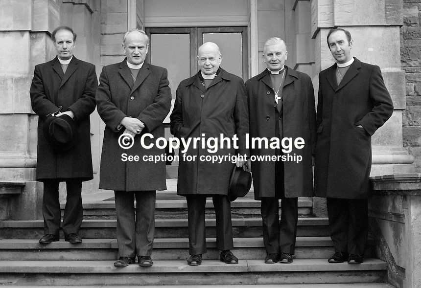 Church of Ireland Primate, John Armstrong, centre, emerges from Stormont Castle after a meeting with N Ireland Secretary of State, James Prior. He is accompanied by from left: Right Rev Gordon McMullan, Bishop of Clogher, Right Rev Robin Eames, Bishop of Down and Dromore, Rt Rev William McCappin, Bishop of Connor, and Right Rev James Mehaffey, Bishop of Derry and Raphoe. 19840045GP1.<br />