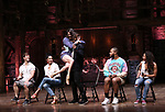 "Thayne Jasperson, Lauren Boyd, Lexi Garcia, Justin Dine Bryant, Sean Green Jr. and Sasha Hollinger during a Q & A before The Rockefeller Foundation and The Gilder Lehrman Institute of American History sponsored High School student #eduHam matinee performance of ""Hamilton"" at the Richard Rodgers Theatre on May 9, 2018 in New York City."