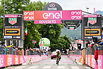 Australian National Champion Rohan Dennis (AUS) BMC Racing Team crosses the line to win Stage 16 of the 2018 Giro d'Italia, a 34.2km individual time-trial from Trento to Rovereto the stage is a pivotal moment in the fight for the Corsa Rosa's GC, Italy. 21st May 2018.<br /> Picture: LaPresse/Gian Mattia D'Alberto | Cyclefile<br /> <br /> <br /> All photos usage must carry mandatory copyright credit (&copy; Cyclefile | LaPresse/Gian Mattia D'Alberto)