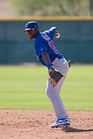 Chicago Cubs second baseman Delvin Zinn (19) during a Minor League Spring Training game against the Oakland Athletics at Sloan Park on March 19, 2018 in Mesa, Arizona. (Zachary Lucy/Four Seam Images)