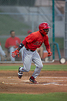 AZL Angels center fielder D'Shawn Knowles (20) starts down the first base line during an Arizona League game against the AZL Giants Black at the San Francisco Giants Training Complex on July 1, 2018 in Scottsdale, Arizona. The AZL Giants Black defeated the AZL Angels by a score of 4-2. (Zachary Lucy/Four Seam Images)