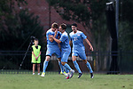 ELON, NC - AUGUST 25: North Carolina's John Nelson (5) celebrates his goal with Jack Skahan (center) and Alex Rose (21). The University of North Carolina Tar Heels hosted the Providence College Friars on August 25, 2017 at Rudd Field in Elon, NC in a Division I college soccer game. UNC won the game 4-2.