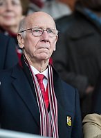 Man Utd legend Sir Bobby Charlton during the Premier League match between Bournemouth and Manchester United at the Goldsands Stadium, Bournemouth, England on 18 April 2018. Photo by Andy Rowland.