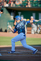Brandon Lewis (47) of the Ogden Raptors at bat against the Rocky Mountain Vibes at Lindquist Field on July 5, 2019 in Ogden, Utah. The Raptors defeated the Vibes 6-4. (Stephen Smith/Four Seam Images)