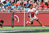 2nd February 2019, Spotless Stadium, Sydney, Australia; HSBC Sydney Rugby Sevens; Samoa versus Japan; Dai Ozawa of Japan scores a try