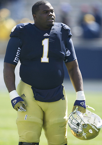 April 20, 2013: Notre Dame Fighting Irish defensive lineman Louis Nix III (1) after the Notre Dame Blue-Gold Spring game at Notre Dame Stadium in South Bend, Indiana.  The Defense topped the Offense by a score of 54-43.