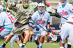 Costa Mesa, CA 06/08/13 - Hamilton Pollard (Team Maverik #44) and Tim Desko (Team STX #21) in action during the inaugural game of the LXMPRO Tour in Orange County.  The Team STX defeated Team Maverik 14-13 at Orange Coast College's Bard Stadium.