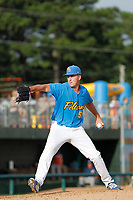 Myrtle Beach Pelicans pitcher Bryan Hudson (50) on the mound during a game against the Potomac Nationals at Ticketreturn.com Field at Pelicans Ballpark on July 1, 2018 in Myrtle Beach, South Carolina. Myrtle Beach defeated Potomac 6-1. (Robert Gurganus/Four Seam Images)