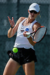 SURPRISE, AZ - MAY 11: Zuza Maciejewska of the Barry Buccaneers returns a ball against Samantha Echevarria of the West Florida Argonauts during the Division II Women's Tennis Championship held at the Surprise Tennis & Racquet Club on May 11, 2018 in Surprise, Arizona. (Photo by Jack Dempsey/NCAA Photos via Getty Images)