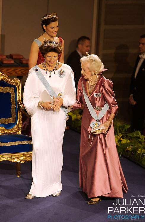 The Swedish Royal Family attend The Nobel Prize Award Ceremony at Stockholm Concert Hall, in Sweden..Queen Silvia, and Princess Lillian attend