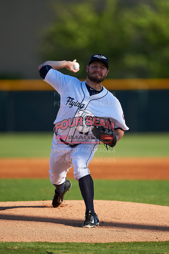 Lakeland Flying Tigers starting pitcher Alex Wilson (17), on rehab assignment from the Detroit Tigers, delivers a warmup pitch during a game against the Tampa Yankees on April 7, 2016 at Henley Field in Lakeland, Florida.  Tampa defeated Lakeland 9-2.  (Mike Janes/Four Seam Images)