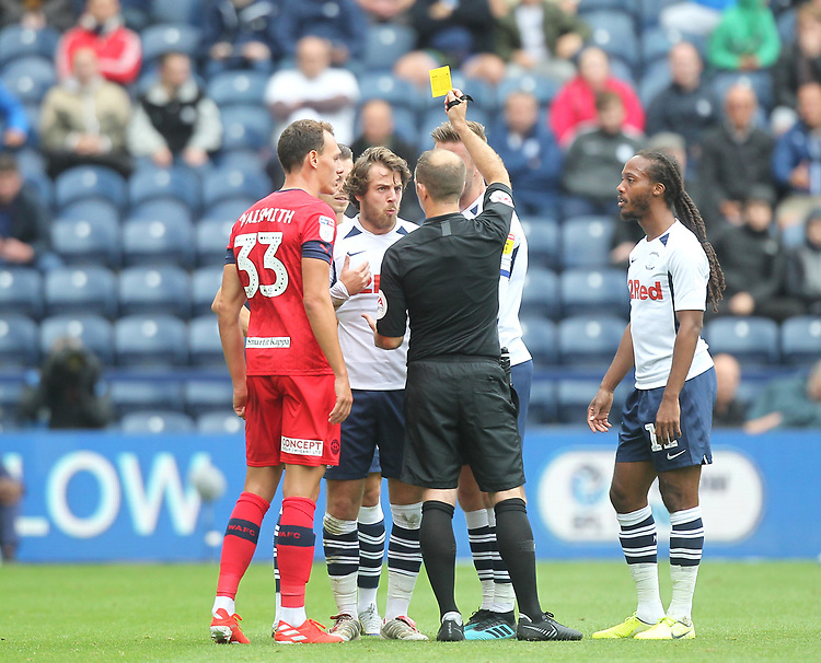 Preston North End's Ben Pearson gets a yellow card from ref James Simpson<br /> <br /> Photographer Mick Walker/CameraSport<br /> <br /> The EFL Sky Bet Championship - Preston North End v Wigan Athletic - Saturday 10th August 2019 - Deepdale Stadium - Preston<br /> <br /> World Copyright © 2019 CameraSport. All rights reserved. 43 Linden Ave. Countesthorpe. Leicester. England. LE8 5PG - Tel: +44 (0) 116 277 4147 - admin@camerasport.com - www.camerasport.com