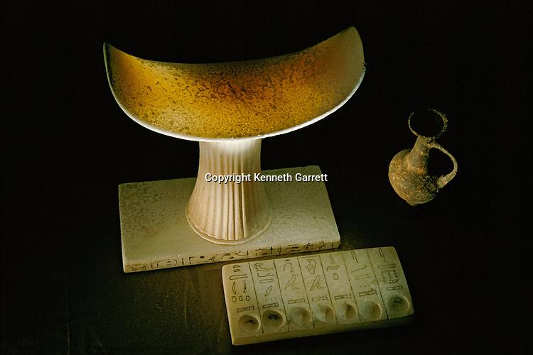 Egypt; Archaeology; Old Kingdom; Saqqara, Tetiankh-Kem, 5th dynasty, Alabaster Headrest, seven sacred oils, tomb
