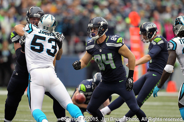 Seattle Seahawks Luke Wilson (82) blocks  Carolina Panthers  linebacker Ben jacobs (53) during a field goal attempt at CenturyLink Field in Seattle on October 18, 2015. The Panthers came from behind with 32 seconds remaining in the 4th Quarter to beat the Seahawks 27-23.  ©2015 Jim Bryant Photography. All Rights Reserved.