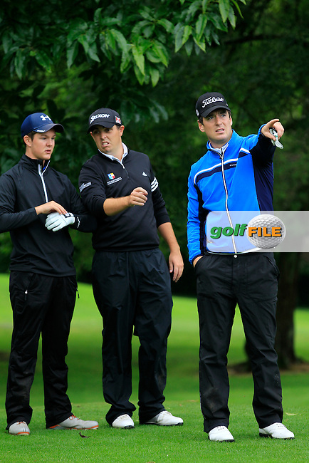 J.R. Galbraith (Whitehead), Alan lowry (Esker Hills) & Colin Fairweather (Knock) on the 3rd tee during round 1 of The Mullingar Scratch Cup in Mullingar Golf Club on Sunday 3rd August 2014.<br /> Picture:  Thos Caffrey / www.golffile.ie