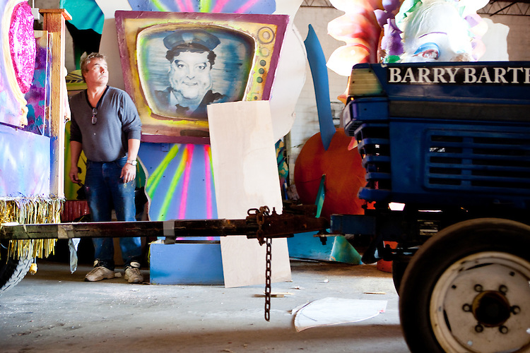Barry Barth, owner of Barry Barth (Artists and Designers), a Mardi Gras float building company, in New Orleans on February 2, 2010.