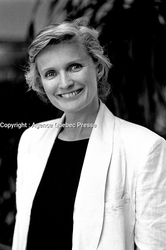 Montreal, CANADA - File Photo -  French actress Marie-Christine Barrault pose for an exclusive photo at the World Film Festival, August 29, 1988.<br /> <br /> Photo : Agence Quebec Presse  - Pierre Roussel