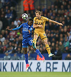 Leicester's Daniel Amarty tussles with Tottenham's Harry Kane during the Premier League match at the King Power Stadium, Leicester. Picture date: May 18th, 2017. Pic credit should read: David Klein/Sportimage