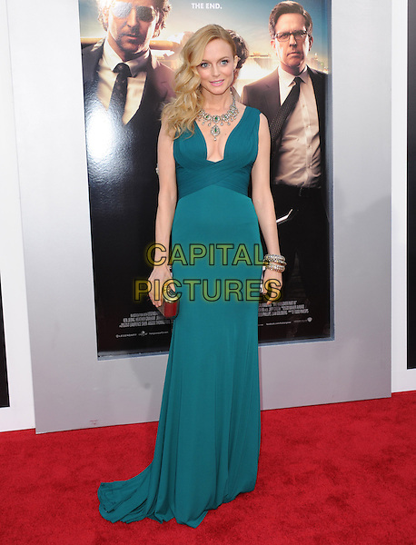 "Heather Graham.""The Hangover Part III"" Los Angeles Premiere held at the Westwood Village Theater, Los Angeles, California, USA..May 20th, 2013.full length dress green low cut neckline cleavage necklace silver clutch bag bracelet .CAP/DVS.©DVS/Capital Pictures"