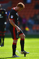 Milton Keynes Dons' Dean Lewington treads on a sprinkler head which came on during the match<br /> <br /> Photographer Richard Martin-Roberts/CameraSport<br /> <br /> The EFL Sky Bet League One - Blackpool v Milton Keynes Dons - Saturday August 12th 2017 - Bloomfield Road - Blackpool<br /> <br /> World Copyright &copy; 2017 CameraSport. All rights reserved. 43 Linden Ave. Countesthorpe. Leicester. England. LE8 5PG - Tel: +44 (0) 116 277 4147 - admin@camerasport.com - www.camerasport.com
