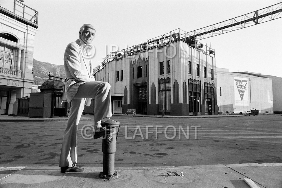 July 1979, Hollywood, Los Angeles, California, USA --- American studio and production director of Columbia Pictures, John Veitch, on the Columbia Pictures backlot. --- Image by © JP Laffont