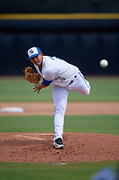 Dunedin Blue Jays relief pitcher Juliandry Higuera (21) delivers a pitch during a game against the Lakeland Flying Tigers on May 27, 2018 at Dunedin Stadium in Dunedin, Florida.  Lakeland defeated Dunedin 2-1.  (Mike Janes/Four Seam Images)