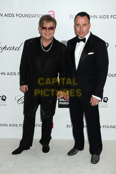 Elton John, David Furnish.20th Annual Elton John Academy Awards Viewing Party held at West Hollywood Park, West Hollywood, California, USA..February 26th, 2012.full length tuxedo couple black diamond necklace red sunglasses shades .CAP/ADM/BP.©Byron Purvis/AdMedia/Capital Pictures.