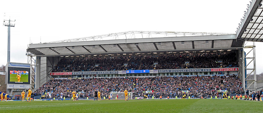 The 6,000 strong Preston North End away following<br /> <br /> Photographer David shipman/CameraSport<br /> <br /> Football - The Football League Sky Bet Championship - Blackburn Rovers v Preston North End - Saturday 2nd April 2016 - Ewood Park - Blackburn<br /> <br /> &copy; CameraSport - 43 Linden Ave. Countesthorpe. Leicester. England. LE8 5PG - Tel: +44 (0) 116 277 4147 - admin@camerasport.com - www.camerasport.com
