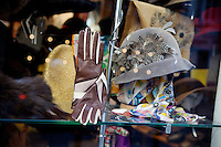 Window display in hat shop 'La Chapellerie' in the Noailles district of Marseille, France, 04 February 2013