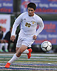 Brendan Nichtern #20 of Massapequa moves the ball downfield during the Nassau County Class AA varsity boys soccer semifinals against Syosset at Cold Spring Harbor High School on Monday, Oct. 31, 2016.