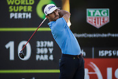 9th February 2018, Lake Karrinyup Country Club, Karrinyup, Australia; ISPS HANDA World Super 6 Perth golf, second round; Wade Ormsby (AUS SA) tees off