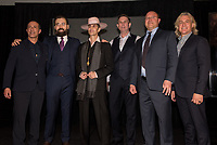 LAS VEGAS, NV - March 13, 2018: ***HOUSE COVERAGE***  Ken Raasch, Serik Kushenov, Perry Farrel, Ed Jones, Cary Granat, Linsay Fellows pictured as Lollapalooza Creator Perry Farrell, Cary Granat and Ed Jones of Immersive Artistry and Caesars Entertainment join forces for Kind Heaven and Unveil plans to the media at The Line Vortex in Las Vegas on March 13, 2018. . Credit: GDP Photos/ MediaPunch