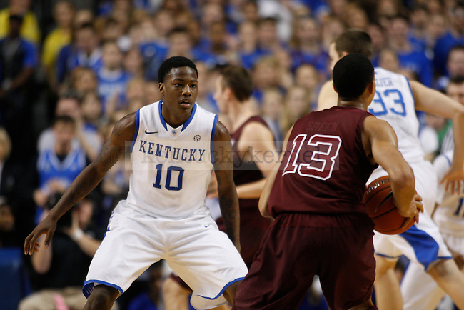 Freshman guard Archie Goodwin guards the ball against A&M's Jordan Green during the Men's University of Kentucky basketball game against Texas A&M at Rupp Arena on January 12th, 2013. Photo by Kirsten Holliday | Staff