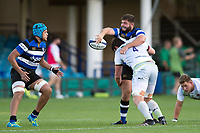 Will Vaughan of Bath United offloads the ball after being tackled. Aviva A-League match, between Bath United and Saracens Storm on September 1, 2017 at the Recreation Ground in Bath, England. Photo by: Patrick Khachfe / Onside Images