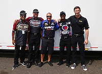 May 31, 2013; Englishtown, NJ, USA: NHRA top fuel dragster drivers (from left) Khalid Albalooshi , Shawn Langdon , Brandon Bernstein , Antron Brown and Morgan Lucas during qualifying for the Summer Nationals at Raceway Park. Mandatory Credit: Mark J. Rebilas-