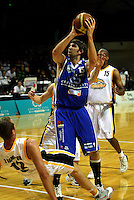 Kevin Owens fouls Tony Rampton during the NBL Basketball match between Wellington Saints and Devon Dynamos Taranaki at TSB Bank Arena, Wellington, New Zealand on Friday, 11 April 2008. Photo: Dave Lintott / lintottphoto.co.nz